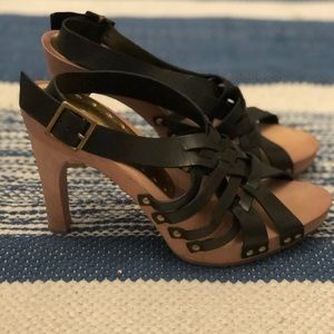 BCBGirls Leather Black Strappy Sandal Heels
